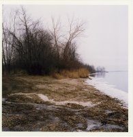Detroit River shoreline in winter